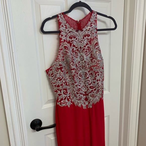 Mori Lee Dresses & Skirts - Gorgeous red silver detail prom dress
